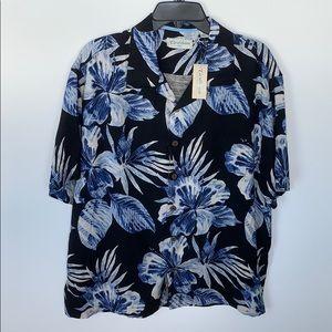 Caribbean Silk Button Down Men's Shirt Size XL New